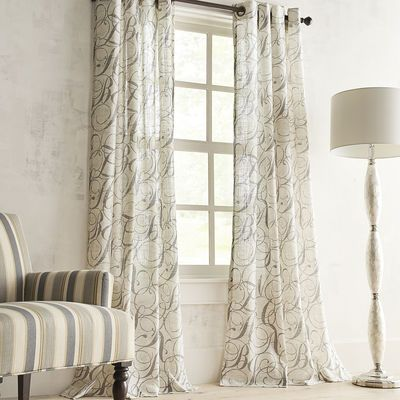 With Its Semi Sheer Light Filtering Fabric And Allover Scrolling Script Our Linen Calligraphy Curtain Is Something To Be Curtains Grommet Curtains Home Decor