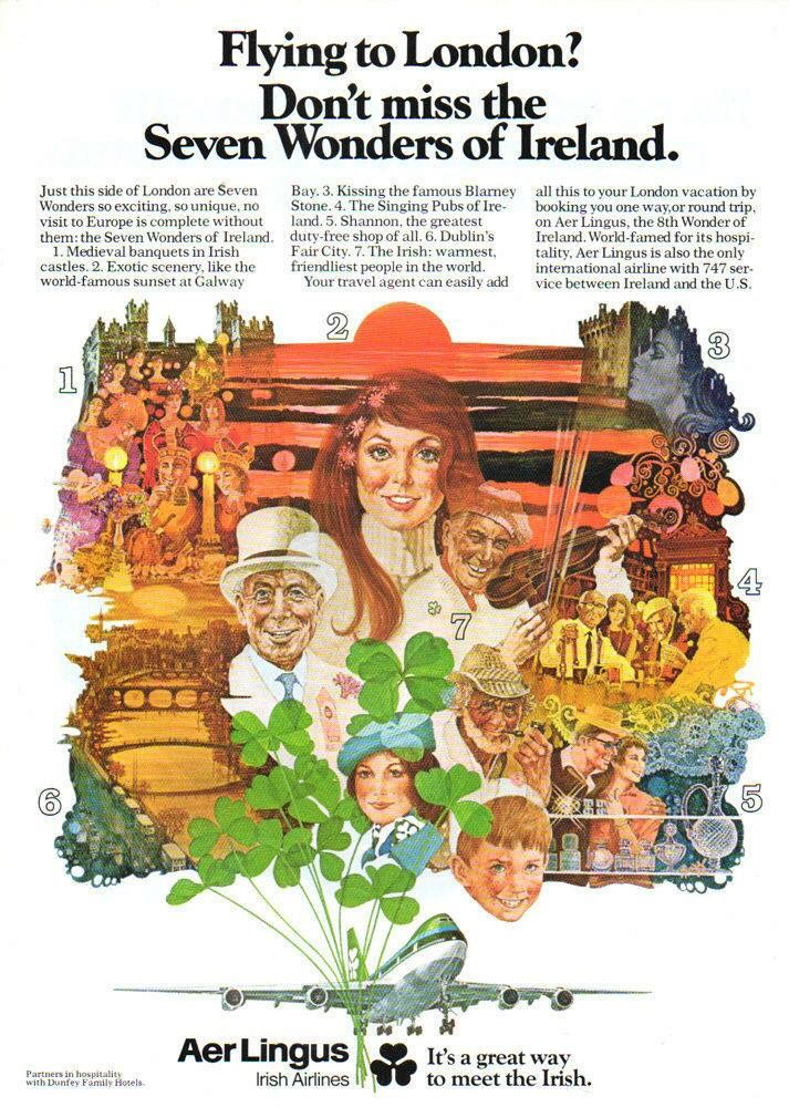 Are lingus 1970s/1980s Vintage airline posters, Seven