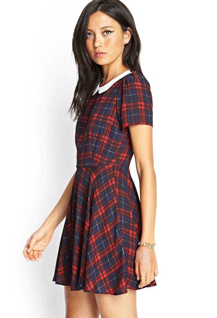 2b41bb20aa Plaid Peter Pan Collar Dress from Forever 21