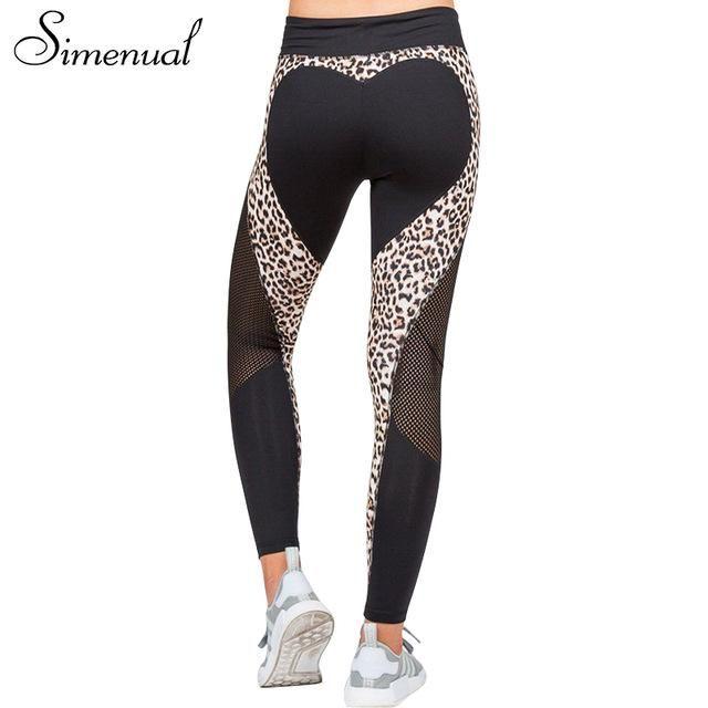 2d7732ec5c506 Simenual Leopard mesh sportswear heart leggings women athleisure push up  patchwork sexy fitness legging female pants