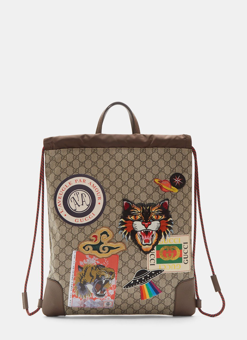 a36ab476dd9632 GUCCI Gucci Courier Gg Supreme Drawstring Backpack In Brown. #gucci #bags  #leather #lining #backpacks #linen #cotton #