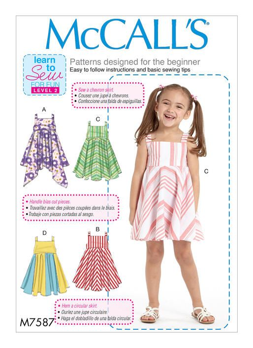 McCall\'s M7587 sewing pattern. Children\'s/Girls\' Dresses with Square ...