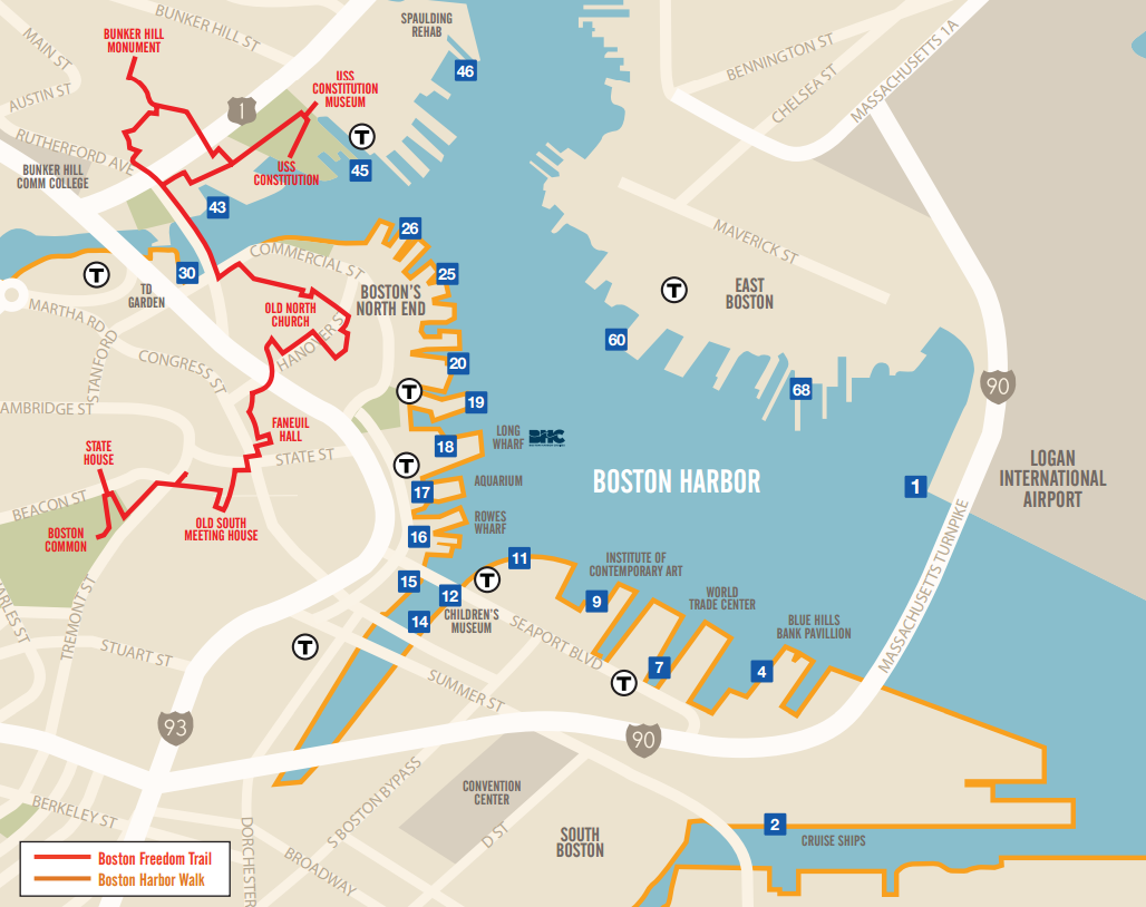 The Boston Harbor Cruises Water Taxi Map Find A Stop And Hop On A