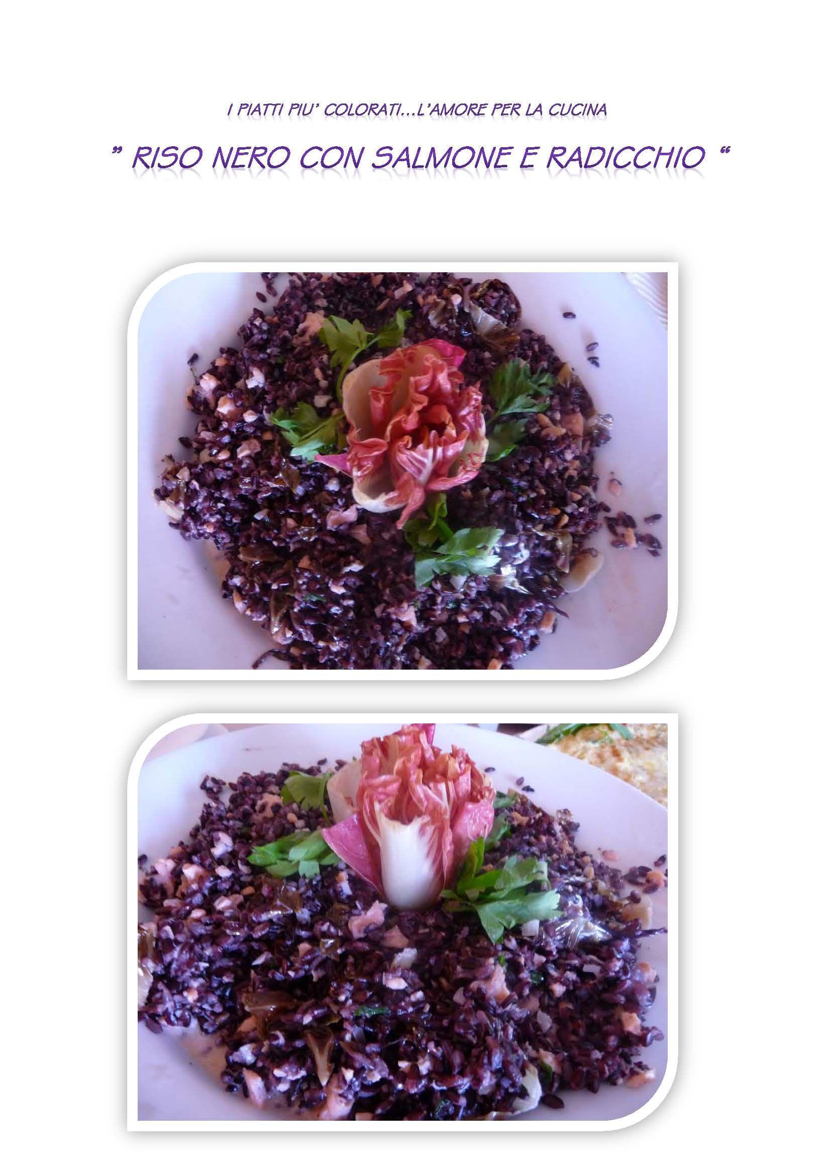 riso nero con salmone e radicchio