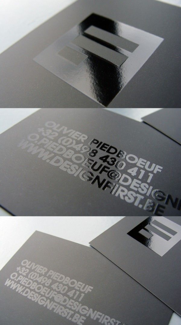 Simple minimalist business card, black on black effect with coated ...