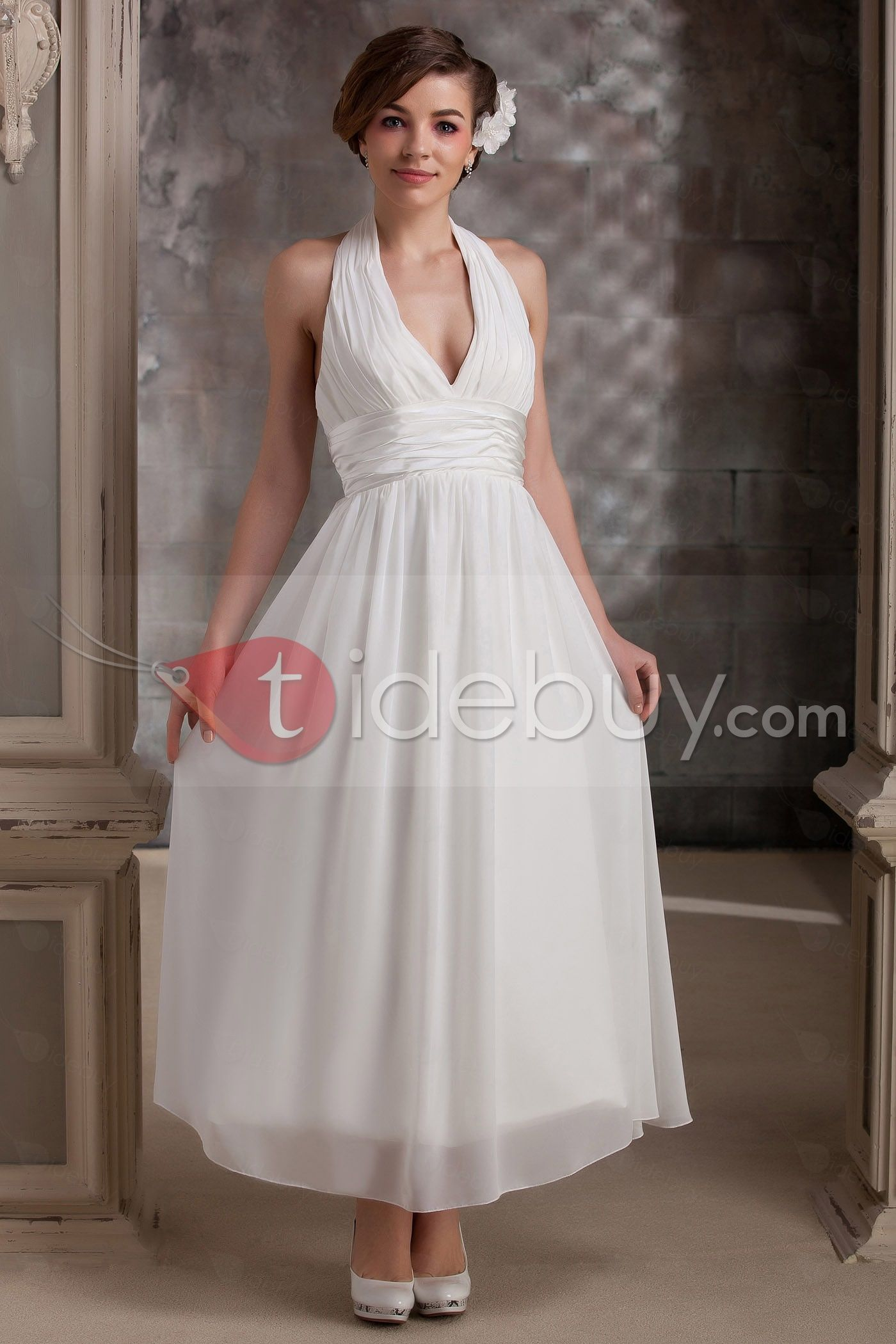 Plain Empire Halter Ankle-Length V Neck Daria\'s Wedding Dress ...
