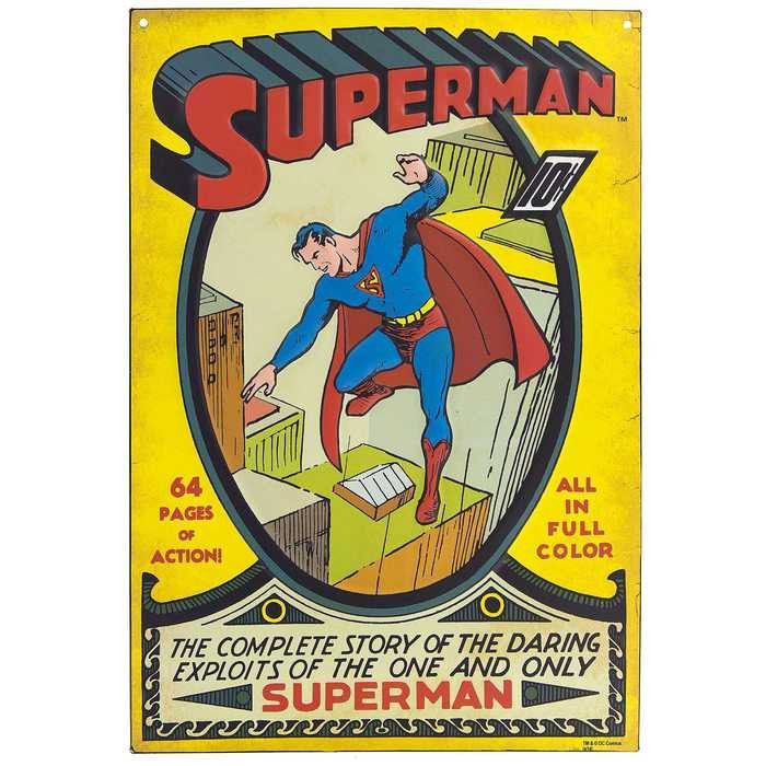 Superman 2 Embossed Tin Sign Superman Stretch Canvas Canvas