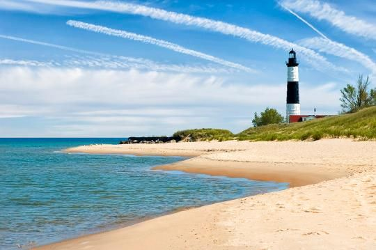 Rks Photo Lighthouse Along The Beach Under A Beautiful Sky Of Fair Weather Clouds Sable Light At Ludington Michigan Mi Usa