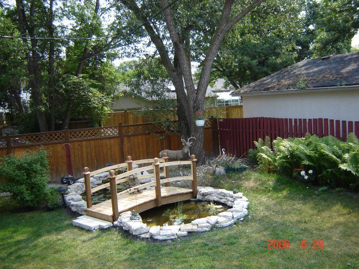 I want a pond with flowers around it and a little bridge for Design fish pond backyard