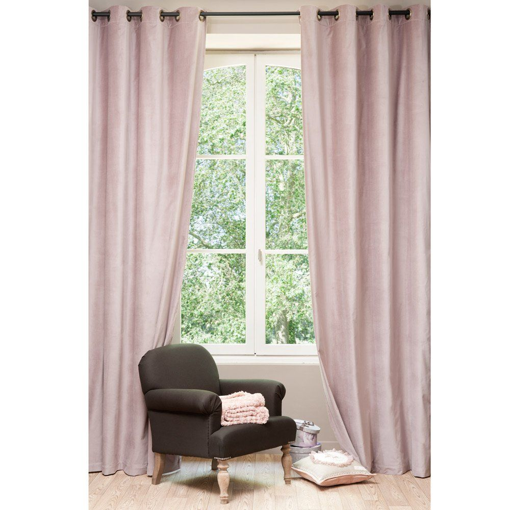 Rideau velours rose perle maison du monde wishlist d co for Rideau pour chambre parentale