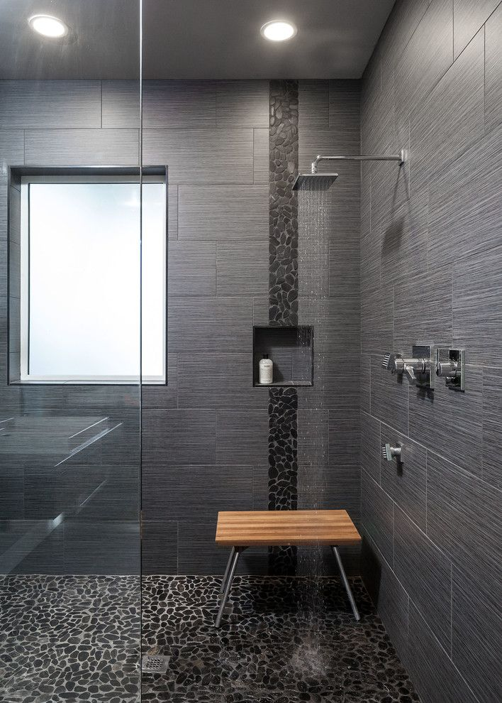 Pebble Tiles And Small Rock Tiles In Black Recessed Shelf