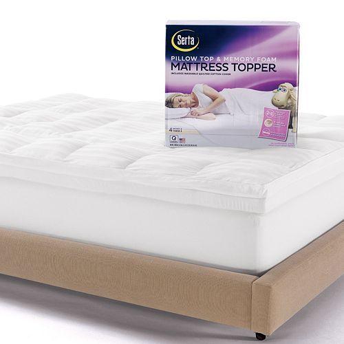 serta 4in deeppocket pillow top u0026 memory foam mattress topper queen