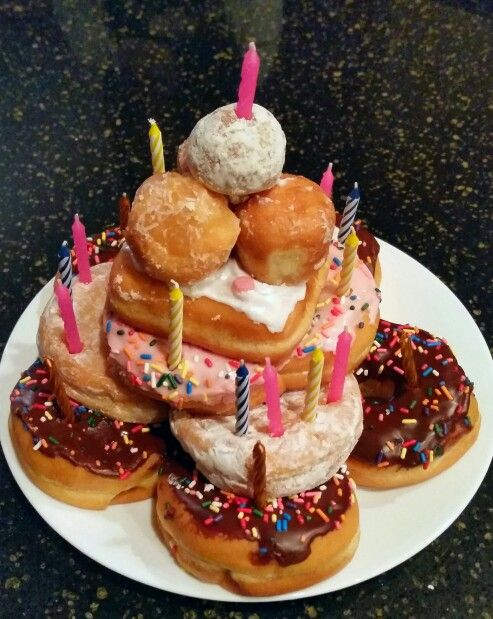 Awe Inspiring Dunkin Donut Birthday Cake Instead Of Cupcakes Or Traditional Cake Funny Birthday Cards Online Elaedamsfinfo