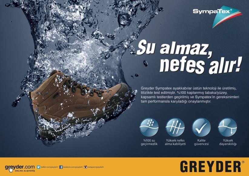 Greyder'in SympaTex teknolojisi ile ayakkabılarınız su almaz nefes alır! Greyder Maltepe Park'ta.