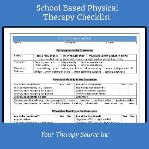 New School Based Physical Therapy Checklist  In Word And Pdf