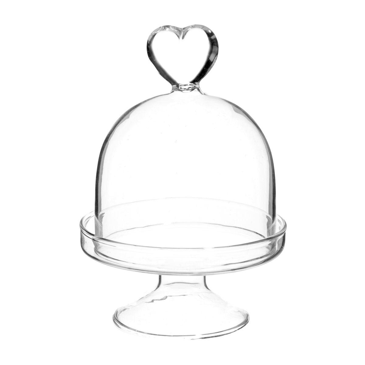 Cloche sur pied en verre H 9 cm Coeur   Maisons du Monde   LOVELY