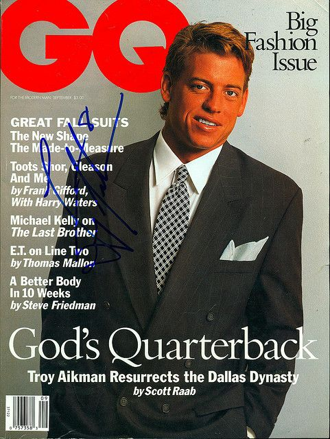September 1993, Autographed GQ Magazine by Troy Aikman by