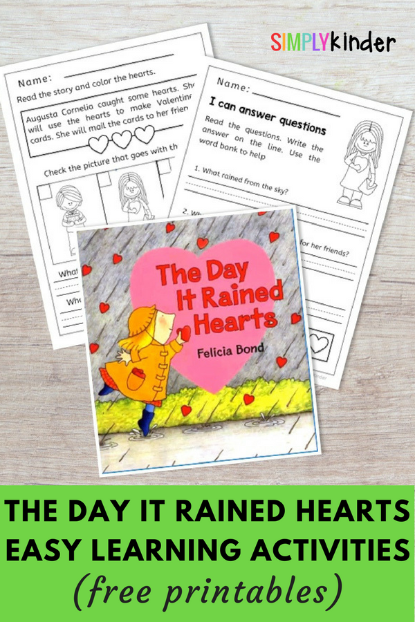 Free Book Writing Templates For Word The Day It Rained Hearts Writing And Reading Activities  Reading .