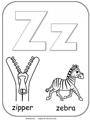 Letter Z Alphabet Printable For Coloring. Fun activity for