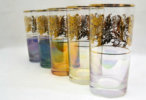 Iridescent / Lusterware highball drinking glasses