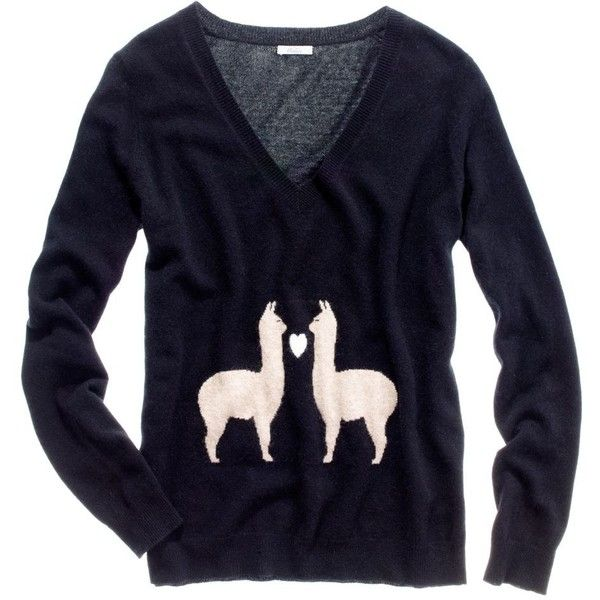 Llama Love Sweater (€93) ❤ liked on Polyvore featuring tops, sweaters, shirts, shirt top, blue top, blue shirt, shirt sweater and blue sweater