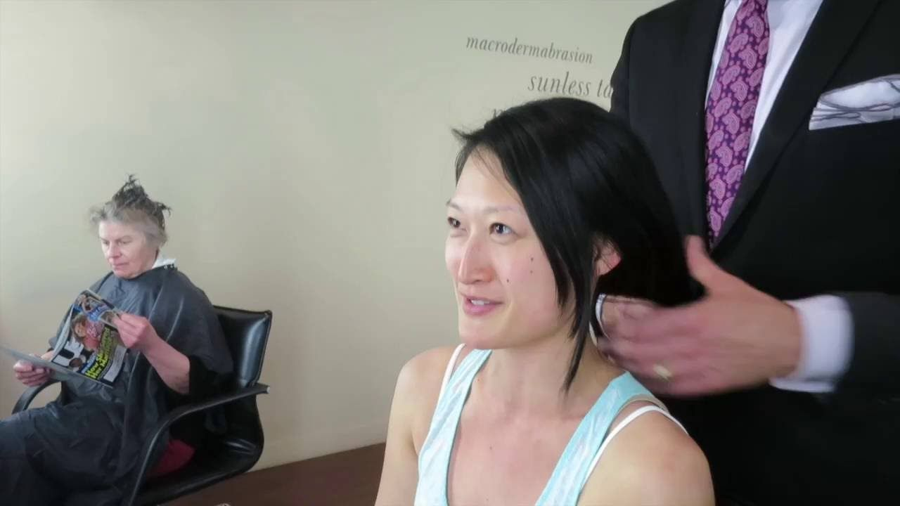 dramatic long hair cut short makeover by christopher makeover asian hair long to short by christopher hopkins