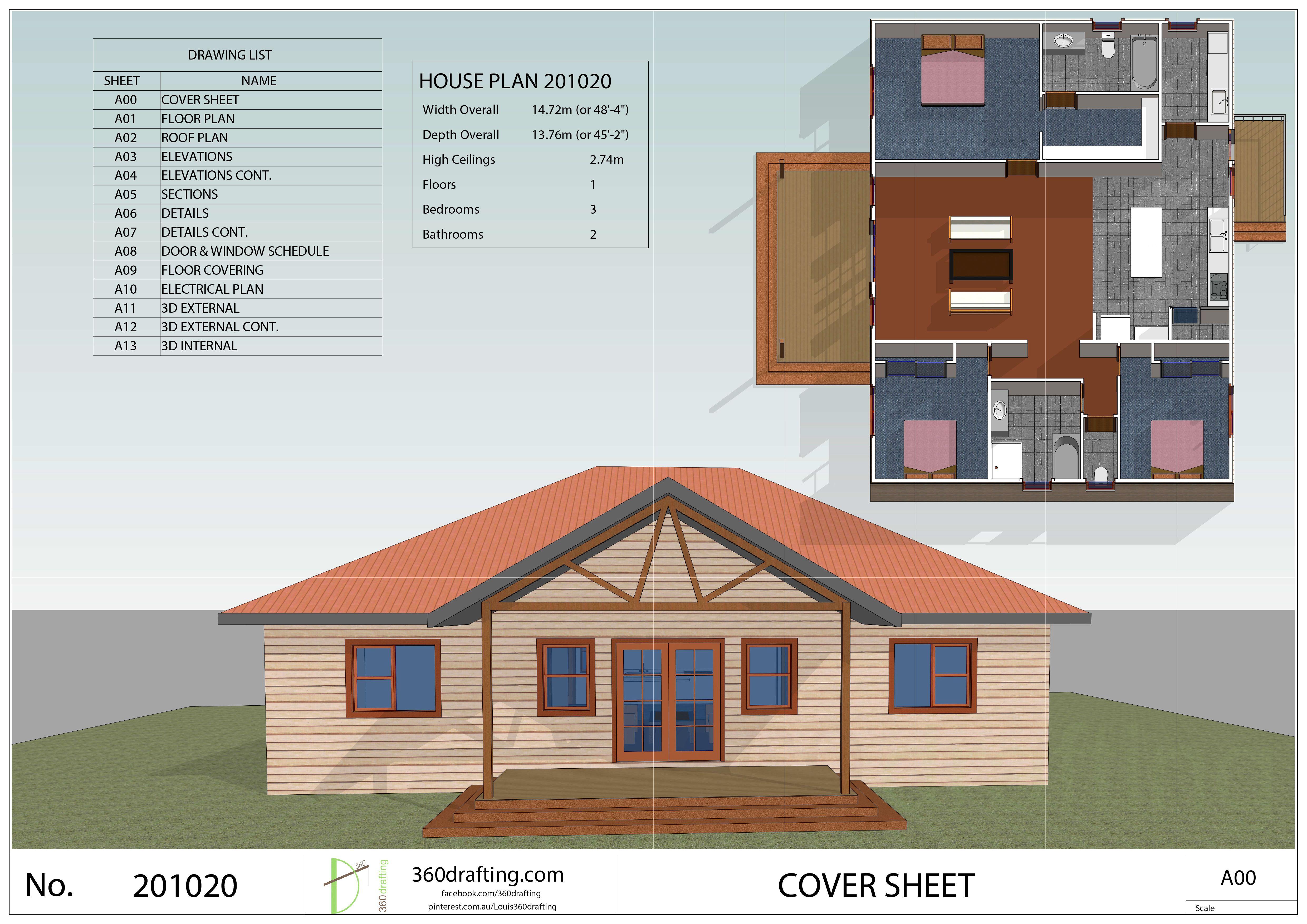 HOUSE PLAN single story house 3 bedrooms 2 bathrooms pdf floor plan instant