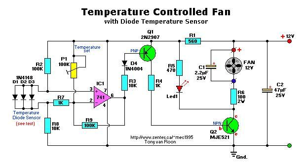 temperature controlled fan electrical engineering books rh pinterest com Schematic Circuit Diagram Simple Electronic Circuits