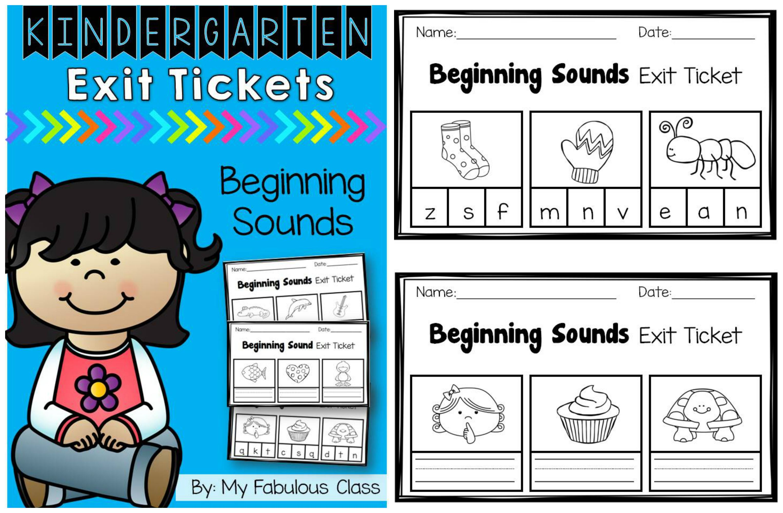 Kindergarten Beginning Sound Exit Tickets | Kindergarten Literacy ...