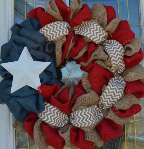 Burlap-Wreath-Americana-wreath-Burlap-Wreaths-Chevron-Wreath-Patriotic