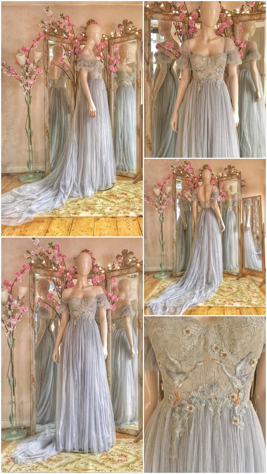 7f363e1e1ec Silver grey tulle dress with embroidered great blue herons by Joanne  Fleming Design