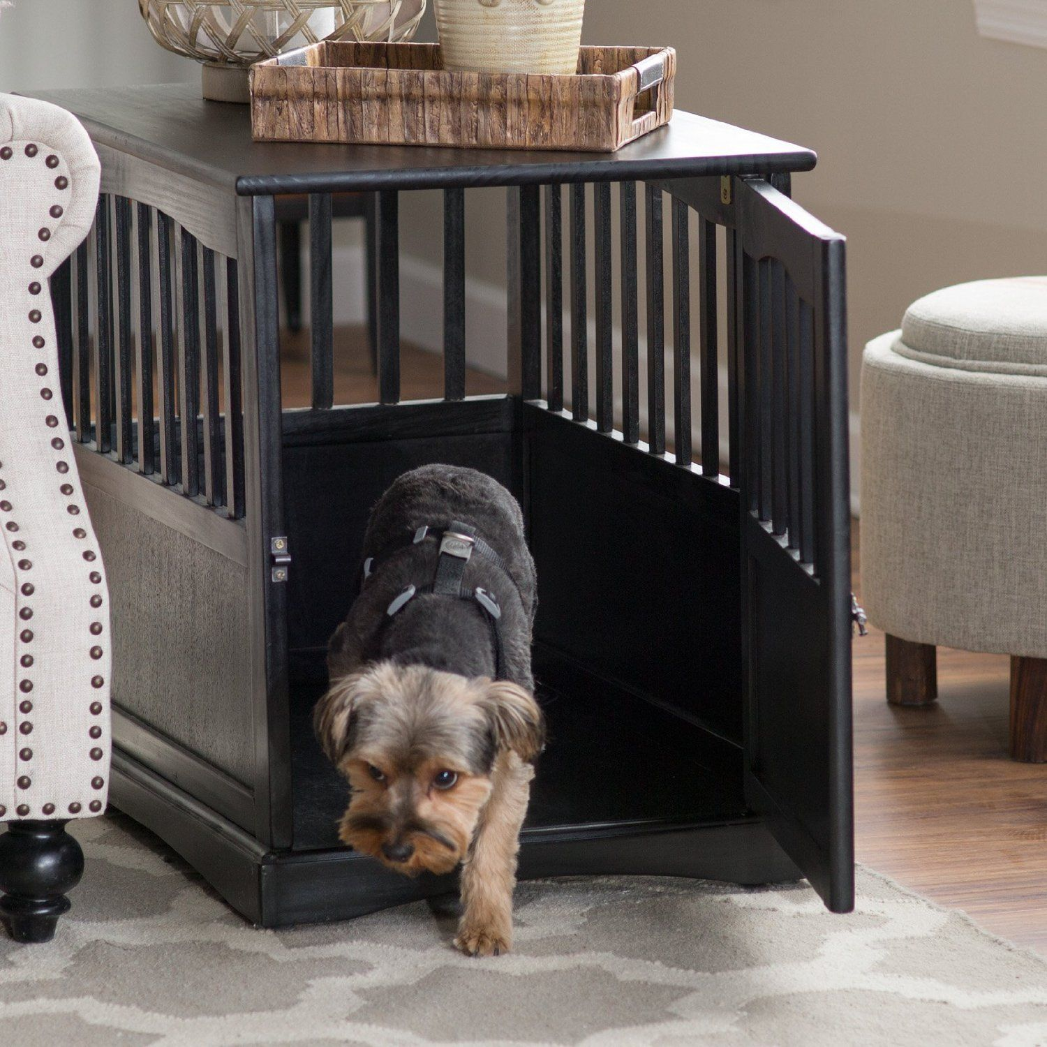 High Quality Buy Indoor Wooden Dog Pet Crate End Table Furniture Espresso Family Room  Bedroom At Online Store