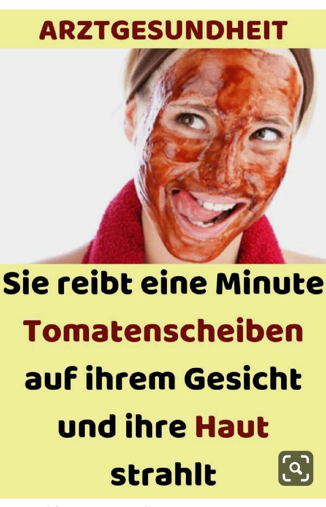 Sie reibt eine Minute Tomatenscheiben auf ihrem Gesicht und ihre Haut strahlt#health#abnehmen#ern...