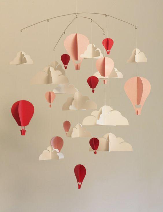 customized hot air balloon paper mobile (l) | paper mobile, hot ... - Diy Baby Deko