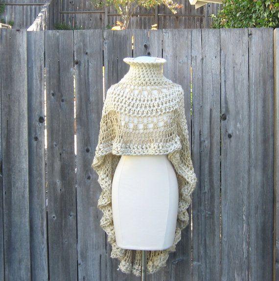 BEIGE CREAM PONCHO Crochet Knit Chic Boho Poncho Trendy Unique ...
