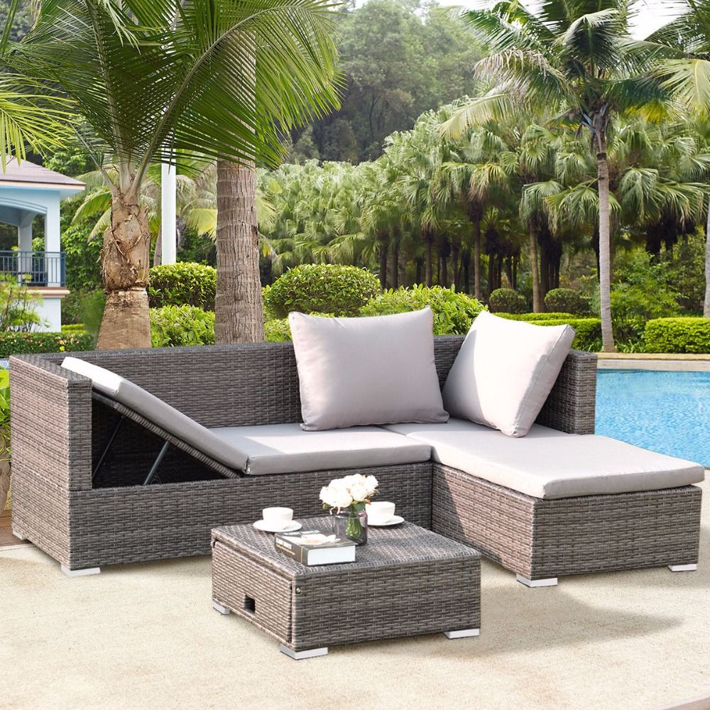 Giantex pcs rattan wicker sofa furniture set steel frame adjustable