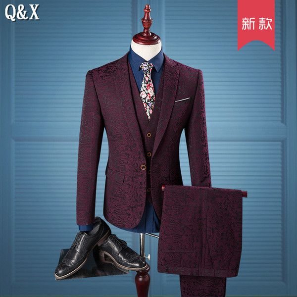 2017 Wholesale Ms53 2017 Luxury Men Suit Wine Red Pattern One Button ...