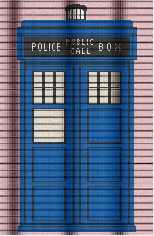Scrappy TARDIS Afghan Pattern With Chart   Häkeldecke