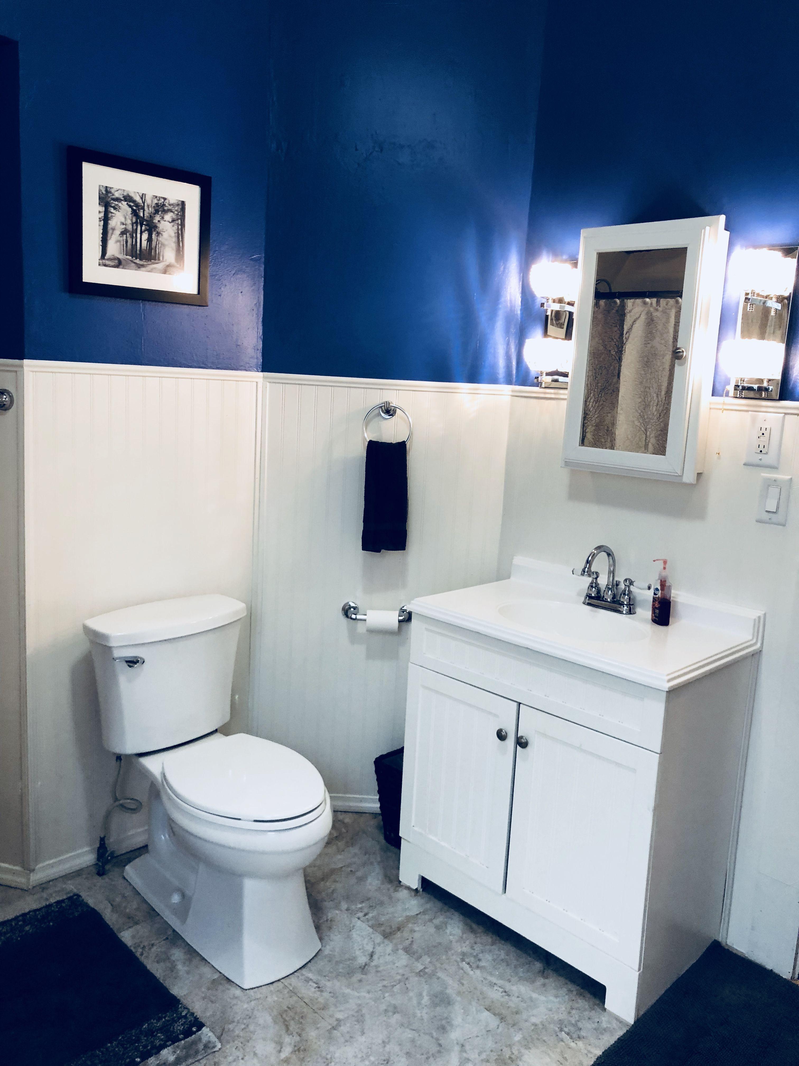 Pin By Lindsay Jobe On Bathroom Remodel Blue Bathroom Furniture Blue Bathroom Decor Yellow Bathroom Decor