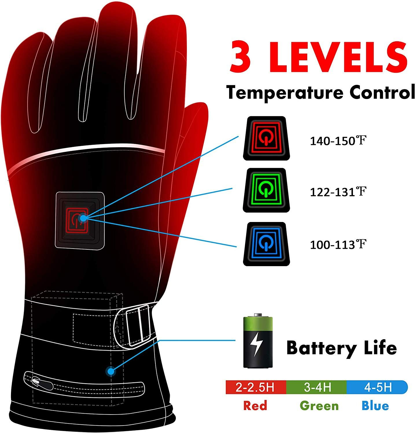 Electric Heated Gloves With Rechargeable Battery Heated Gloves Hand Warmers Touch Screen Gloves