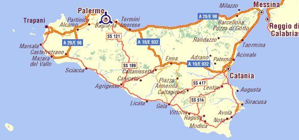 Mapa De Sicilia Italia.Mapa De Carreteras De Sicilia En 2019 Sicilia Viajar A