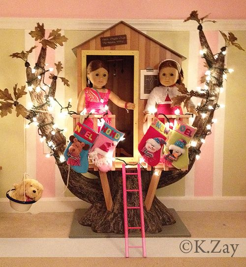 American Girl Doll Kit's Treehouse Decorated for Christmas By Kim Zay www.AGDesignCraftCreate.blogspot.com #americangirldollcrafts - Dur Be #americangirlhouse