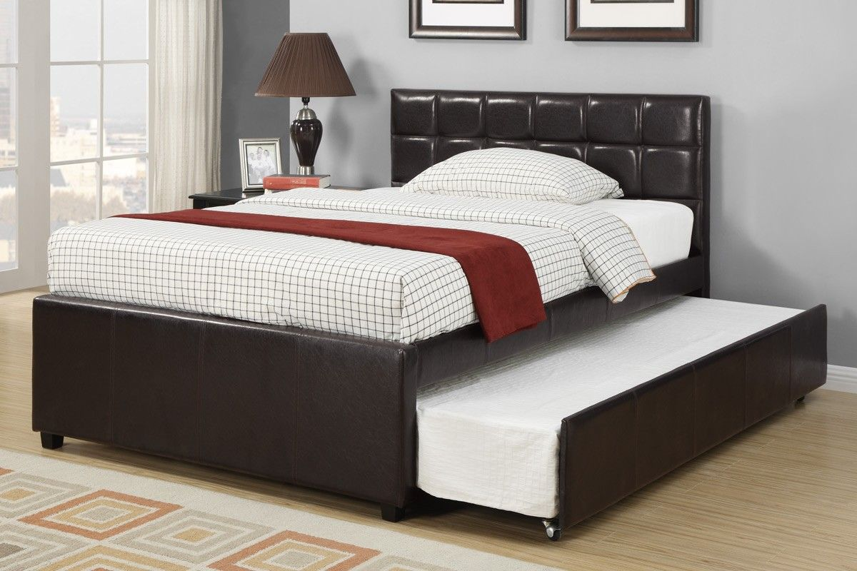 Espresso Full Size Bed With Twin Size Trundle And Blanket With