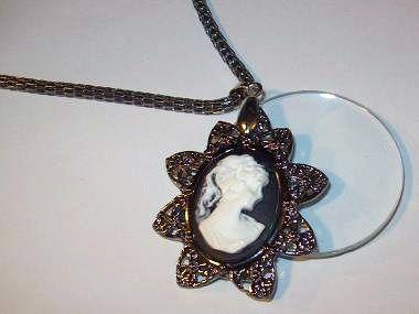 Vintage Gun Metal Tone Cameo Magnifying Glass Necklace | Jenstardesigns - Jewelry on ArtFire