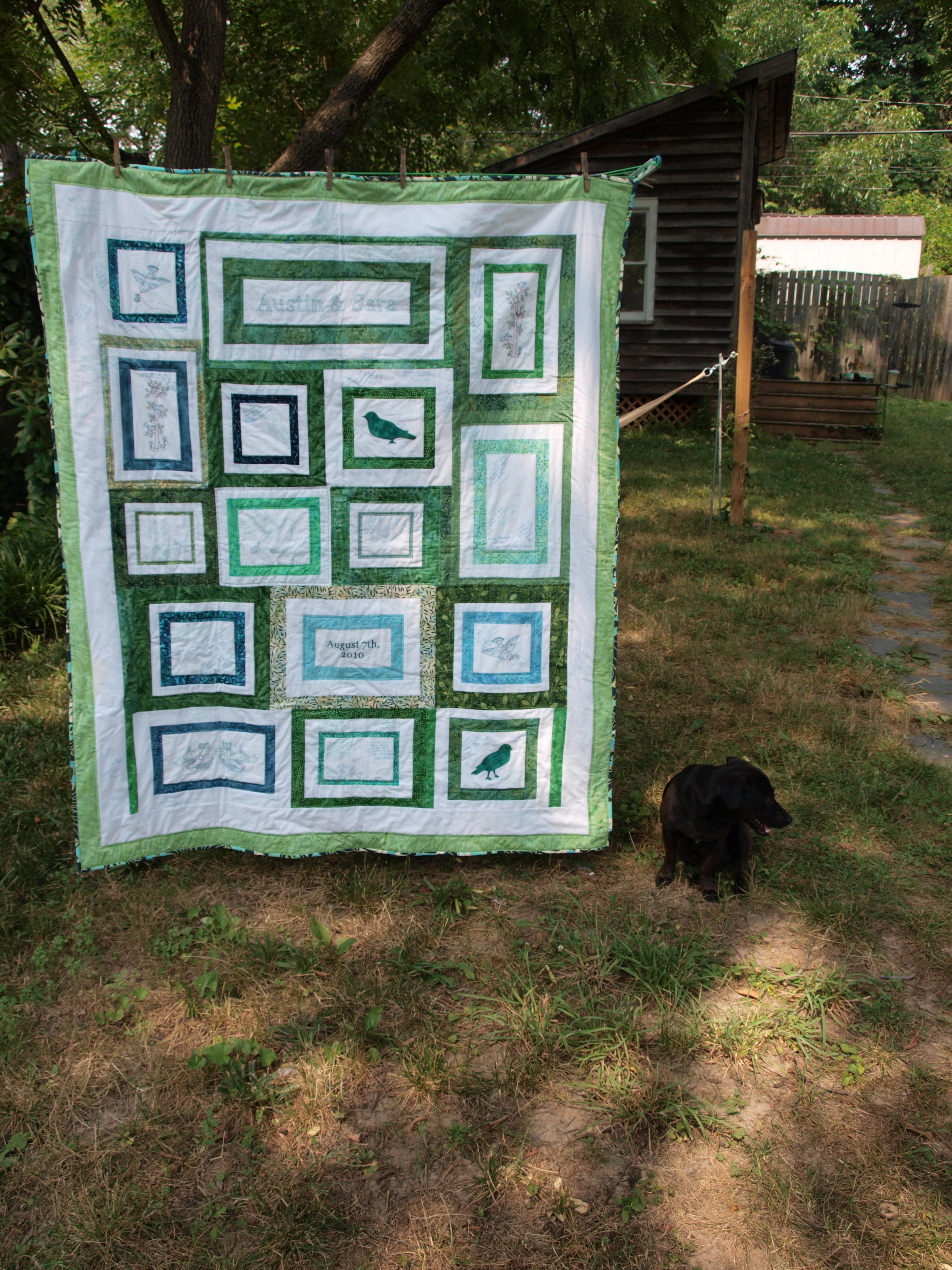 Custom Wedding Signature Quilt Dog Embroidery And