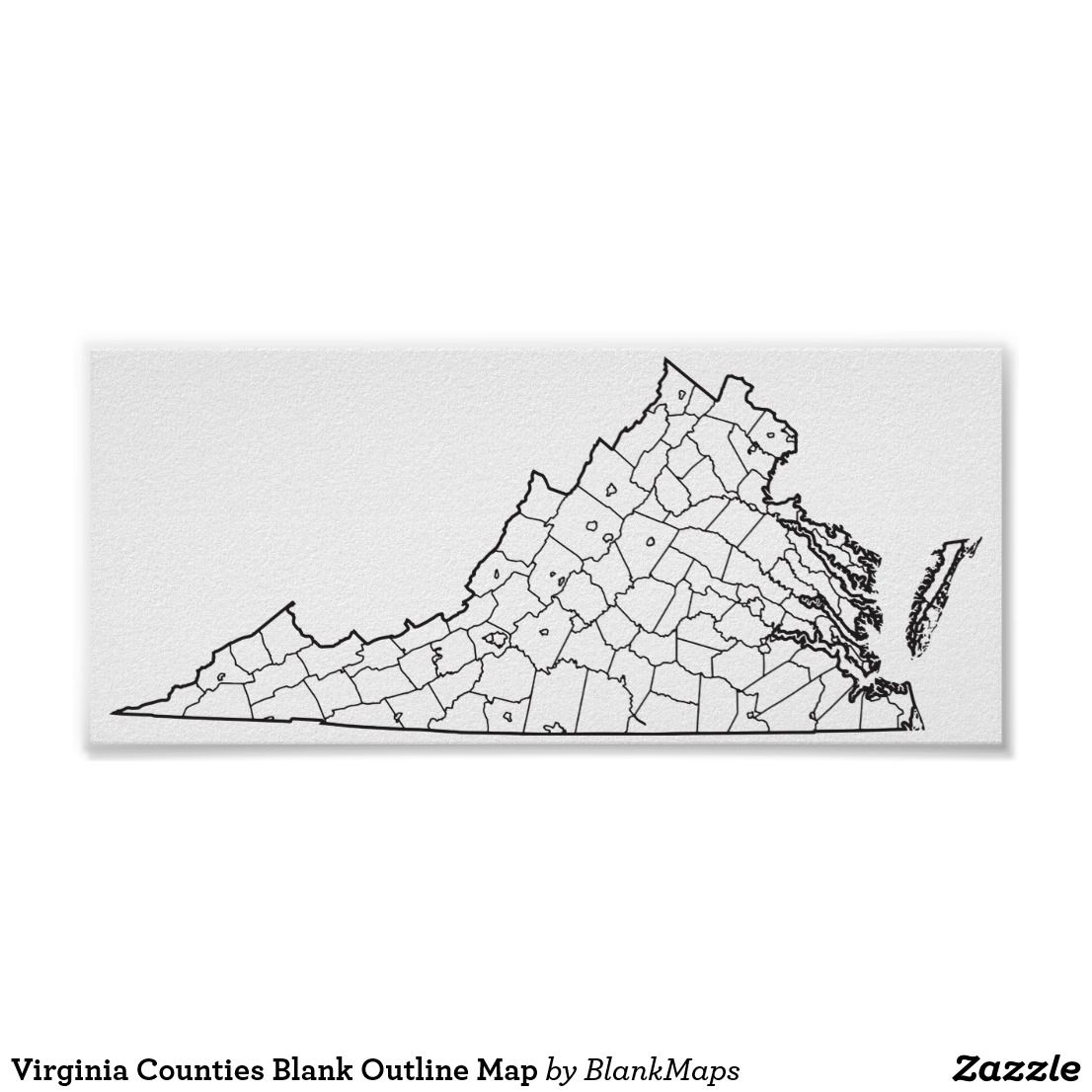 Virginia Counties Blank Outline Map Poster