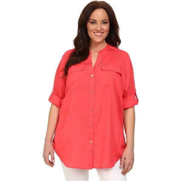 Calvin Klein Plus Size Crew Neck Roll Sleeve Women's Blouse, Pink ($40) ❤ liked on Polyvore