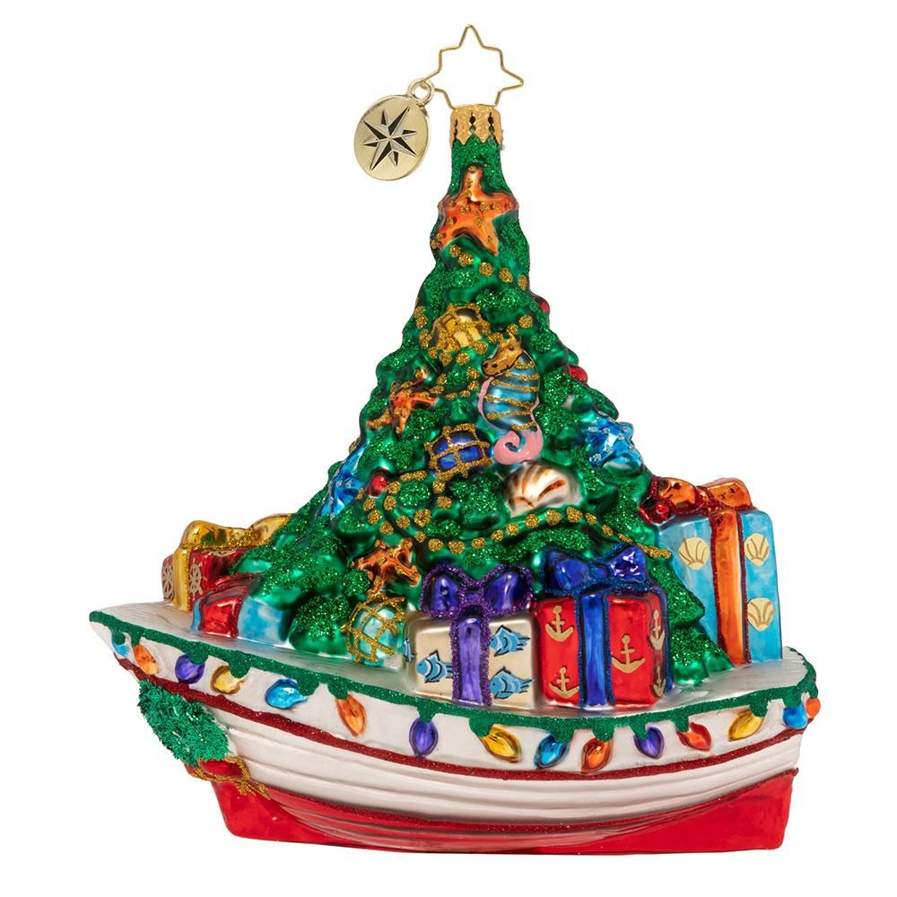 Christopher radko riding the waves of christmas boat