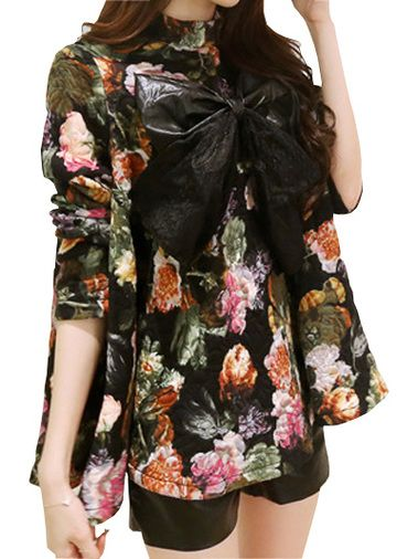 Stylish Bowknot Decorated Stand Collar Long Sleeve Loose Blouse on buytrends.com