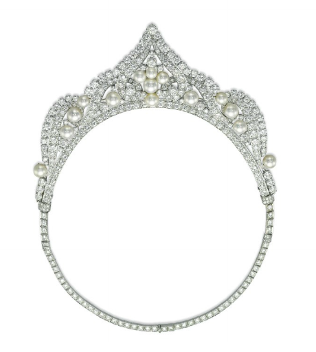 b7383a5b6784b A CULTURED PEARL AND DIAMOND NECKLACE/TIARA, BY DAVID WEBB Designed ...
